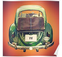 Vintage Volkswagen Beetle With Suitcase Poster