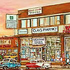BROWN DERBY JEWISH DELICATESSEN MONTREAL MEMORIES VINTAGE VAN HORNE SHOPPING CENTER PAINTINGS JEWISH ART by Carole  Spandau