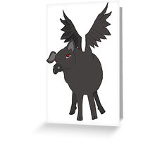 demonic flying pig Greeting Card