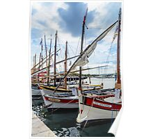 Traditional boats in port of Sanary-sur-Mer , Var, France Poster