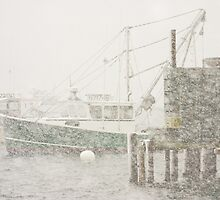 Bass Harbor in Heavy Snowstorm, Mount Desert Island, Maine by KWJphotoart