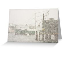 Bass Harbor in Heavy Snowstorm, Mount Desert Island, Maine Greeting Card