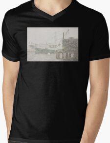 Bass Harbor in Heavy Snowstorm, Mount Desert Island, Maine Mens V-Neck T-Shirt