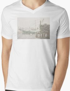 Bass Harbor in Heavy Snowstorm, Mount Desert Island, Maine Mens V-Neck T-Shirt