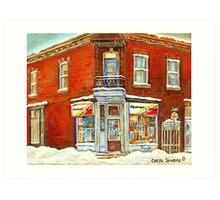 BEST SELLING VERDUN MONTREAL PRINT DEPANNEUR SEPT JOURS VERDUN SNOW SCENE PAINTING Art Print