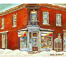BEST SELLING VERDUN MONTREAL PRINT DEPANNEUR SEPT JOURS VERDUN SNOW SCENE PAINTING Photographic Print