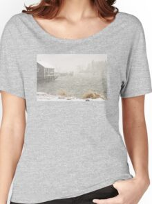 Heavy Snowstorm in Bass Harbor, Mount Desert island, Maine Women's Relaxed Fit T-Shirt