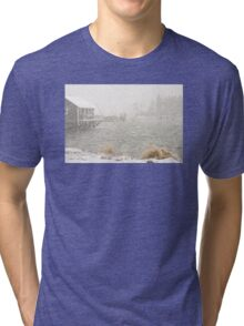 Heavy Snowstorm in Bass Harbor, Mount Desert island, Maine Tri-blend T-Shirt