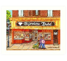 RUE WELLINGTON VERDUN CITY SCENE BIJOUTERIE DUBE BEST SELLING MONTREAL PRINTS Art Print