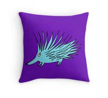blue echidna Throw Pillow