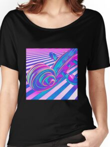 Psychedelic Scroll in Pink Purple n Aqua Women's Relaxed Fit T-Shirt