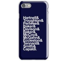 Doctor Who actor's names (Blue) iPhone Case/Skin
