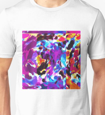 purple pink blue orange yellow and red spiral painting abstract background Unisex T-Shirt