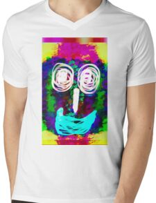 funny face with blue lip and pink green blue kisses abstract background Mens V-Neck T-Shirt