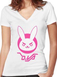OVERWATCH D VA Women's Fitted V-Neck T-Shirt