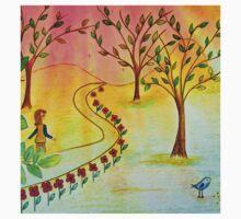 An autumn walk at dusk Kids Tee
