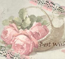 Vintage Roses With Best Wishes Card  by Sandra Foster