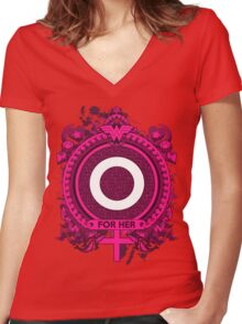 FOR HER - O Women's Fitted V-Neck T-Shirt