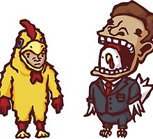 Man In Chicken Suit And Chicken In Man Suit by obinsun