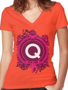 FOR HER - Q Women's Fitted V-Neck T-Shirt