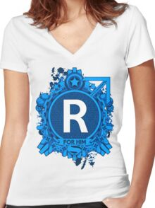 FOR HIM - R Women's Fitted V-Neck T-Shirt