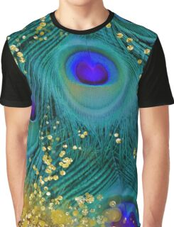 Dreamy peacock feathers, teal and purple, glimmering gold Graphic T-Shirt