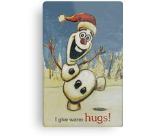 Olaf from Disney Frozen Gives Warm Christmas Hugs Metal Print