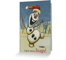 Olaf from Disney Frozen Gives Warm Christmas Hugs Greeting Card