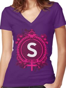 FOR HER -S Women's Fitted V-Neck T-Shirt