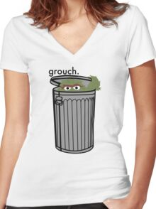 grouch.  Women's Fitted V-Neck T-Shirt