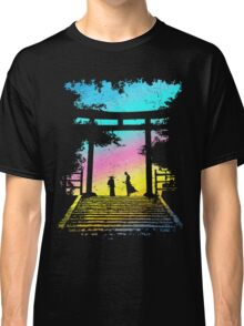 Two Samurai Ronin Ready To Fight By Sunrise At The Torii Gate Classic T-Shirt