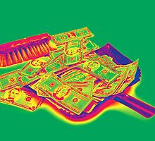Broom Sweeping Up American Money Pop Art by KWJphotoart