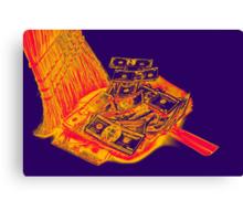 Broom Sweeping Up American Currency Pop Art Canvas Print