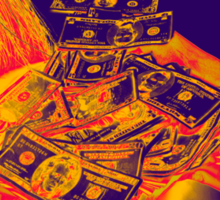 Broom Sweeping Up American Currency Pop Art Sticker