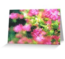 abstract nature bee flowers garden pink green Greeting Card