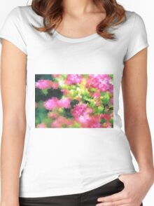 abstract nature bee flowers garden pink green Women's Fitted Scoop T-Shirt