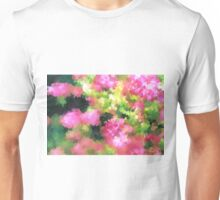 abstract nature bee flowers garden pink green Unisex T-Shirt