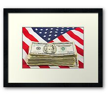 Stack of Money On American Flag  Framed Print