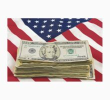 Stack of Money On American Flag  Kids Tee
