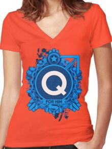 FOR HIM - Q Women's Fitted V-Neck T-Shirt