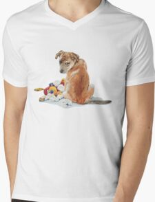 cute brown puppy with torn teddy bear Mens V-Neck T-Shirt