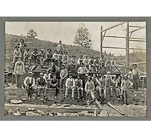 Cabinet Card: Barn Raising c1895 - Cropped Photographic Print