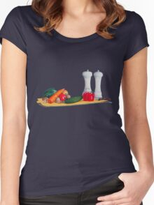 quirky still life realist art peppers and vegetables  Women's Fitted Scoop T-Shirt