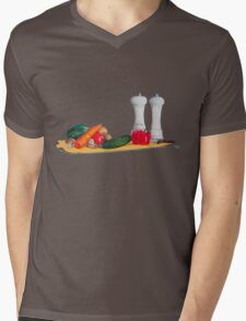 quirky still life realist art peppers and vegetables  Mens V-Neck T-Shirt