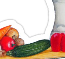 quirky still life realist art peppers and vegetables  Sticker