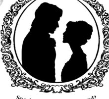 "Pride and Prejudice Elizabeth and Darcy ""Iconic Quotes"" Silhouette Design  Sticker"