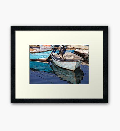Many Blues Boats Framed Print