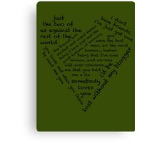 Quotes of the Heart - Johnlock (Black) Canvas Print