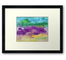 Abstract Watercolor Painting Blue Purple Green Yellow Framed Print