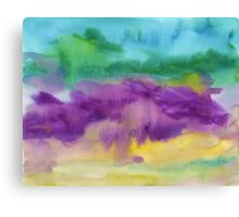 Abstract Watercolor Painting Blue Purple Green Yellow Canvas Print